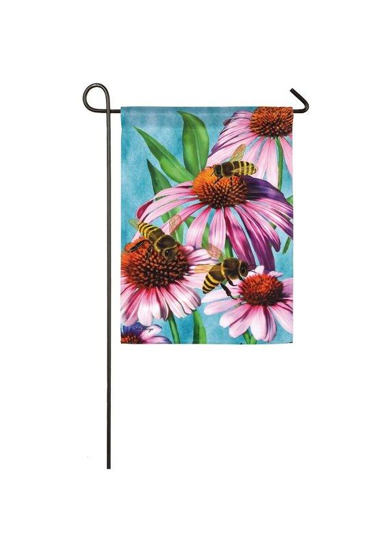 ****Bees and Coneflower Garden Satin Flag
