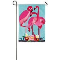 ***Flamingo Garden Garden Linen Flag