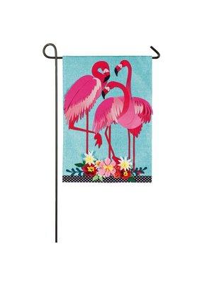 ****Flamingo Garden Garden Linen Flag