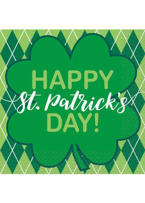 ***Argyle Clover St. Patrick's Day Lunch Napkins 20ct
