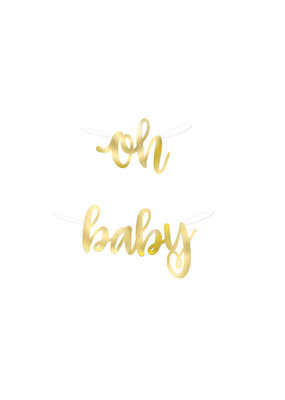 "***""Oh Baby"" Gold Foil Script Banner"
