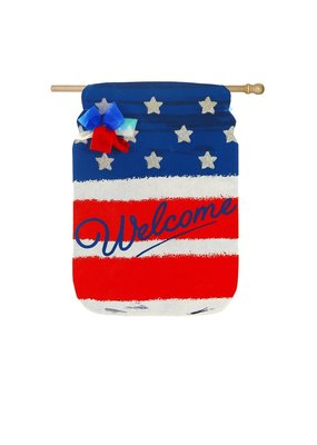 ***Patriotic Mason Jar House Burlap Flag