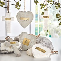 Wooden Heart & Cross Ornament