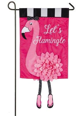 ***Let's Flamingle Garden Applique Flag