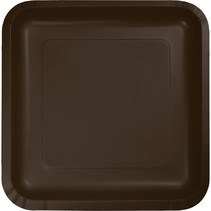 "***Chocolate Brown 7"" Square Paper Plates 18ct"