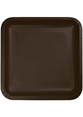 """***Chocolate Brown 7"""" Square Paper Plates 18ct"""