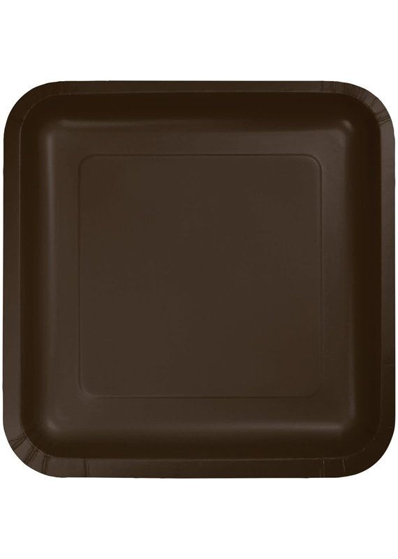 """****Chocolate Brown 7"""" Square Paper Plates 18ct"""