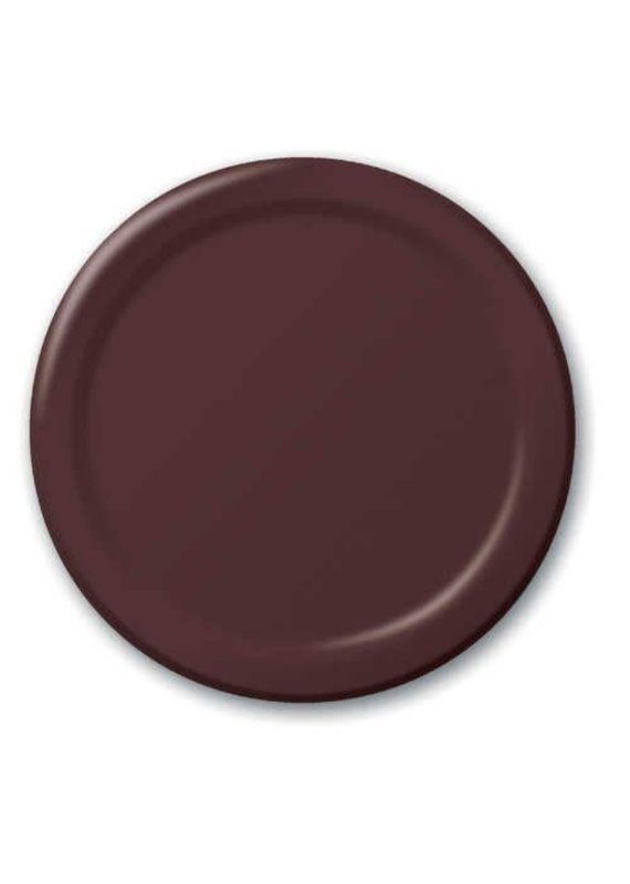 """****Chocolate Brown 7"""" Round Paper Plates 24ct"""