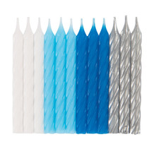 *White, Blue, & Silver Spiral Candles