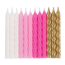 *White, Pink, & Gold Spiral Candles