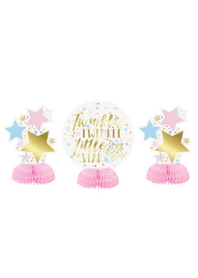 ***Foil Twinkle Twinkle Little Star Mini Honeycomb Centerpieces, 3ct