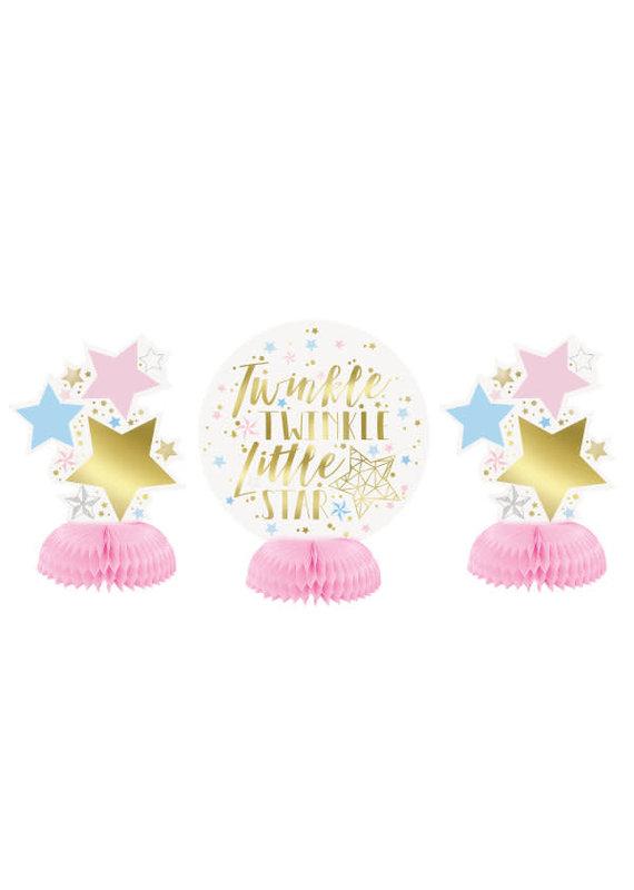 ****Foil Twinkle Twinkle Little Star Mini Honeycomb Centerpieces, 3ct