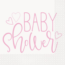 *Pink Hearts Baby Shower Luncheon Napkins, 16ct