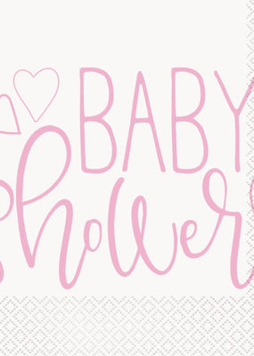 ***Pink Hearts Baby Shower Luncheon Napkins, 16ct