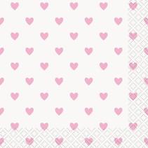 *Pink Hearts Baby Shower Beverage Napkins, 16ct