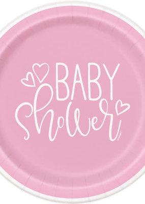 "*Pink Hearts Baby Shower Round 9"" Dinner Plates, 8ct"
