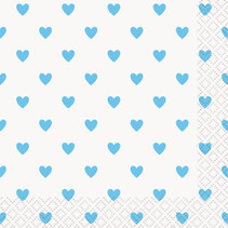 *Blue Hearts Baby Shower Beverage Napkins, 16ct