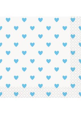 ***Blue Hearts Baby Shower Beverage Napkins, 16ct
