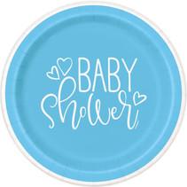 "*Blue Hearts Baby Shower Round 9"" Dinner Plates, 8ct"