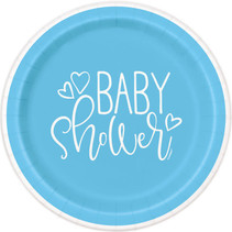 "*Blue Hearts Baby Shower Round 7"" Dessert Plates, 8ct"