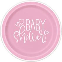 """*Pink Hearts Baby Shower Round 7"""" Dessert Plates, 8ct"""