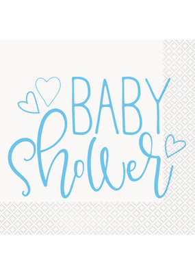 ***Blue Hearts Baby Shower Luncheon Napkins, 16ct