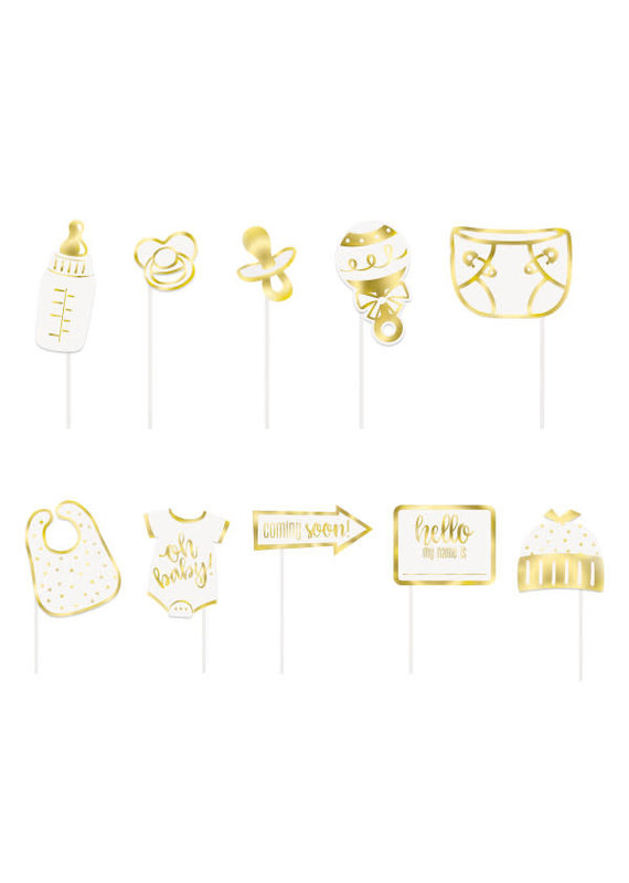 ***Gold Baby Shower Photo Booth Props, 10pc