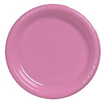 "***Candy Pink 10"" Plastic Banquet Plates 20ct"