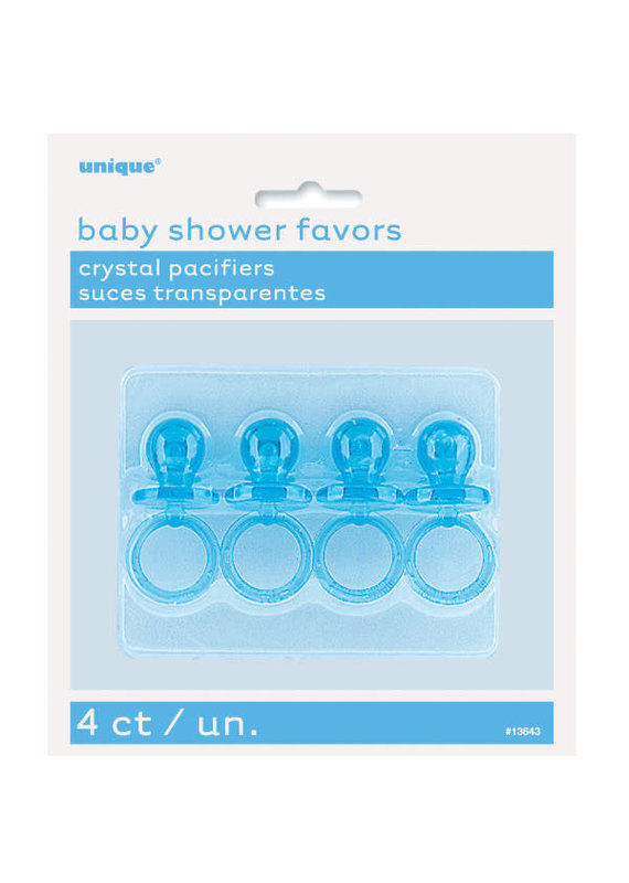 """*****Blue Crystal Pacifier Favors 2"""" Baby Shower Favors 4ct"""