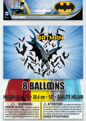 "***Batman 12"" Latex Balloons 8ct"