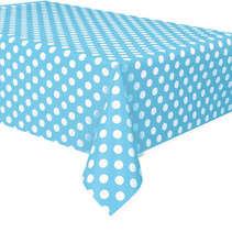 "*Powder Blue Dots Rectangular Plastic Table Cover, 54""x108"""