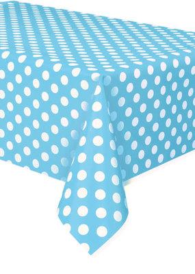 "***Powder Blue Dots Rectangular Plastic Table Cover, 54""x108"""