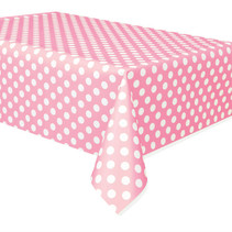 "***Lovely Pink Dots Rectangular Plastic Table Cover, 54""x108"""