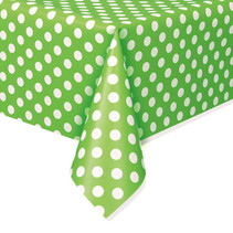 "***Lime Green Dots Rectangular Plastic Table Cover, 54""x108"""