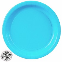 "***Bermuda Blue 9"" Paper Dinner Plates 24ct"