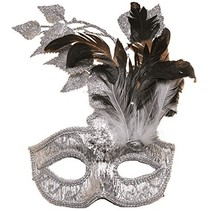 ***Silver Carnival Mask with Silver Leaves, Dark & White Feathers