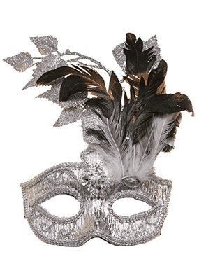Jacobson Hat Company ***Silver Carnival Mask with Silver Leaves, Dark & White Feathers