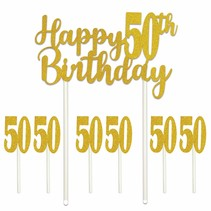 ***Happy 50th Birthday Cake Topper 7 pieces