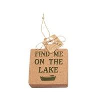 ***Square Fish Lake Life Cork Coaster