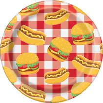 """*Burger BBQ Round 7"""" Dessert Plates, 8ct"""