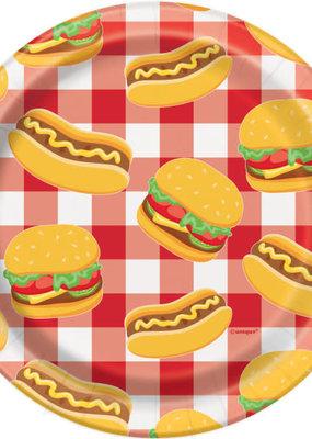 """***Burger BBQ Round 7"""" Dessert Plates, 8ct"""