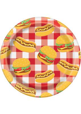 """****Burger BBQ Round 7"""" Dessert Plates, 8ct"""