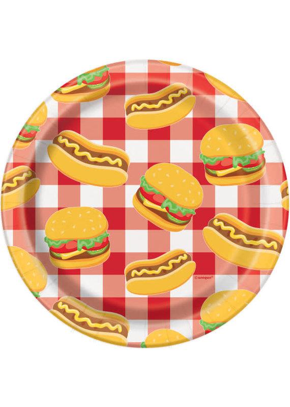 """*****Burger BBQ Round 7"""" Dessert Plates, 8ct"""