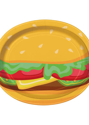 ***Burger BBQ Paper Oval Plates 8ct