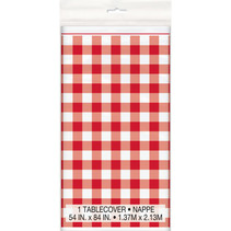 "*Red Gingham Rectangular Plastic Table Cover, 54""x84"""