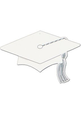 ***White Graduation Hat Cutouts