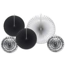 *Black & Silver Paper Decorative Fans