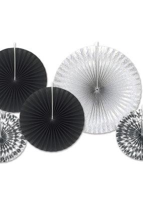***Black & Silver Paper Decorative Fans