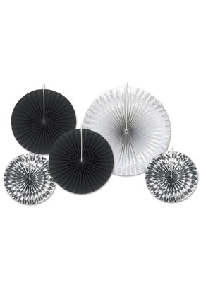 ***Black & Silver Paper Decorative Fans
