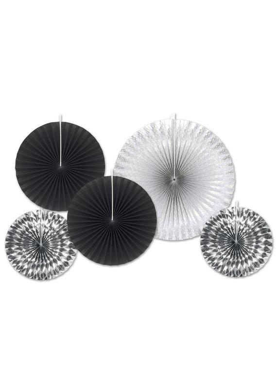 *****Black & Silver Paper Decorative Fans
